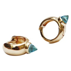 Maviada's Hug Hoop Earrings with Reverse Cut Diamond Blue Topaz, 18 Karat Gold
