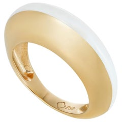 MAVIADA's Modern 18 Karat Gold Minimalism White Enamel Engagement Cocktail Ring
