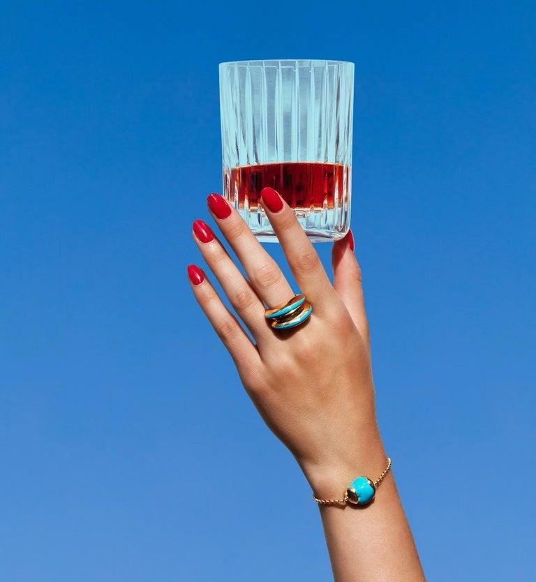 MAVIADA's Modern 18K Gold Minimalism Turquoise Enamel Engagement Cocktail Ring For Sale 6