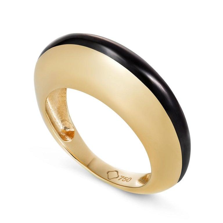 Women's or Men's MAVIADA's Modern 18K Gold Minimalism Turquoise Enamel Engagement Cocktail Ring For Sale