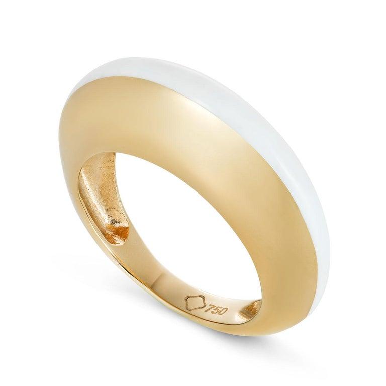 MAVIADA's Modern 18K Gold Minimalism Turquoise Enamel Engagement Cocktail Ring For Sale 1