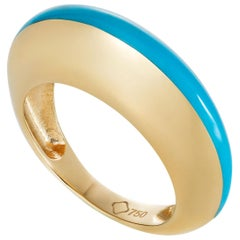 MAVIADA's Modern 18K Gold Minimalism Turquoise Enamel Engagement Cocktail Ring