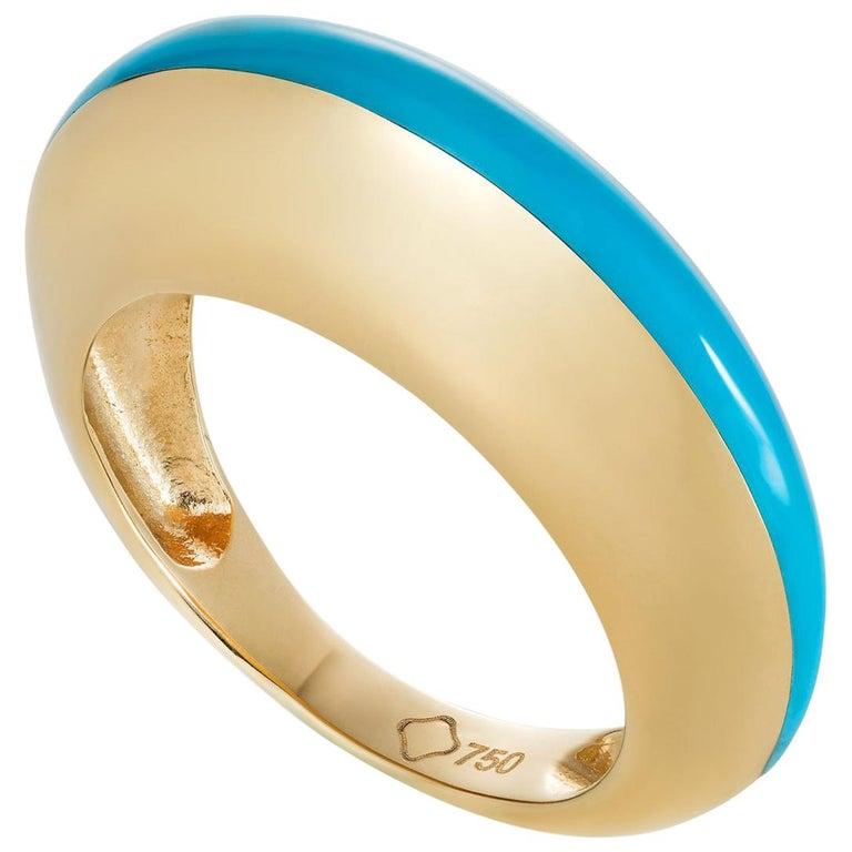 MAVIADA's Modern 18K Gold Minimalism Turquoise Enamel Engagement Cocktail Ring For Sale