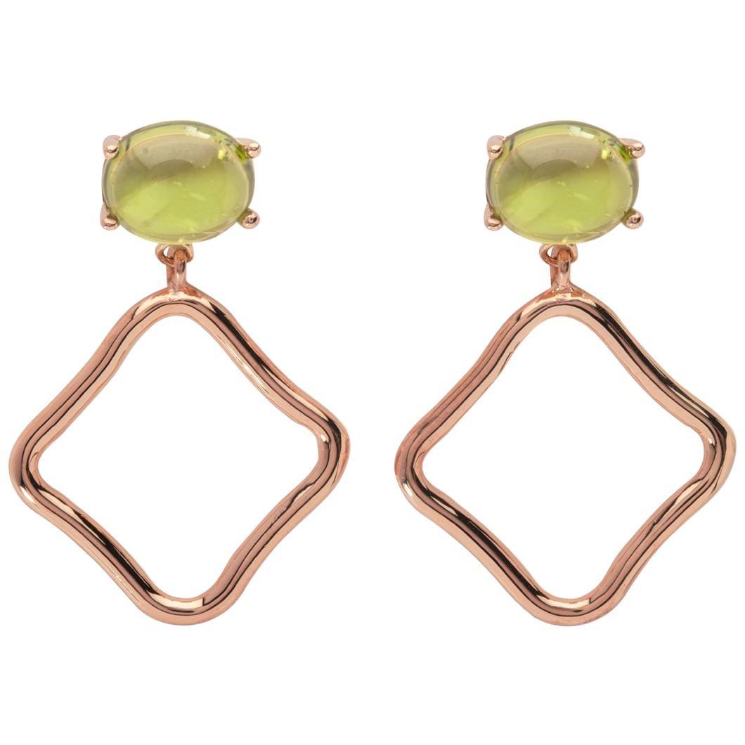 MAVIADA's Modern Green Peridot 18 Karat Rose Gold Drop Hoop Minimalism Earrings