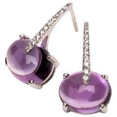 Maviada's Modern Minimalism Diamond Purple Amethyst 18 Karat Gold Drop Earrings