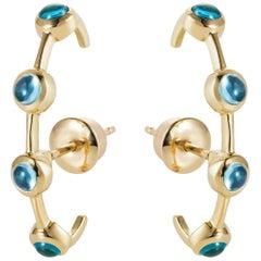 MAVIADA's Modern Minimalism Ear-Cuff Earrings in Swiss Blue Topaz in 18K Gold