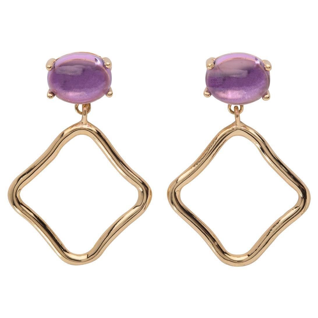 Maviada's Modern Minimalism Purple Amethyst 18 Karat Rose Gold Drop Earrings