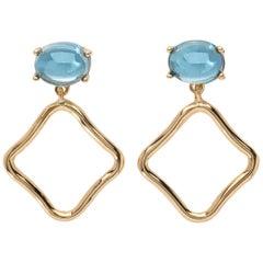 MAVIADA's Modern Minimalism Swiss Blue Topaz 18 Karat Yellow Gold Drop Earrings