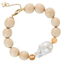 MAVIADA's Modern Wooden Bracelet with 18k gold discs, Baroque Pearl, Champagne