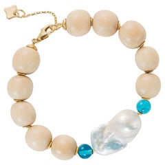 MAVIADA's Modern Wooden Bracelet with 18K Gold Discs Baroque Pearl, London Blue