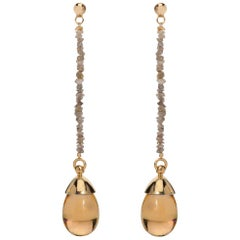 Maviada's Rough Cut Diamond Champagne Quartz Stone 18 Karat Gold Drop Earrings