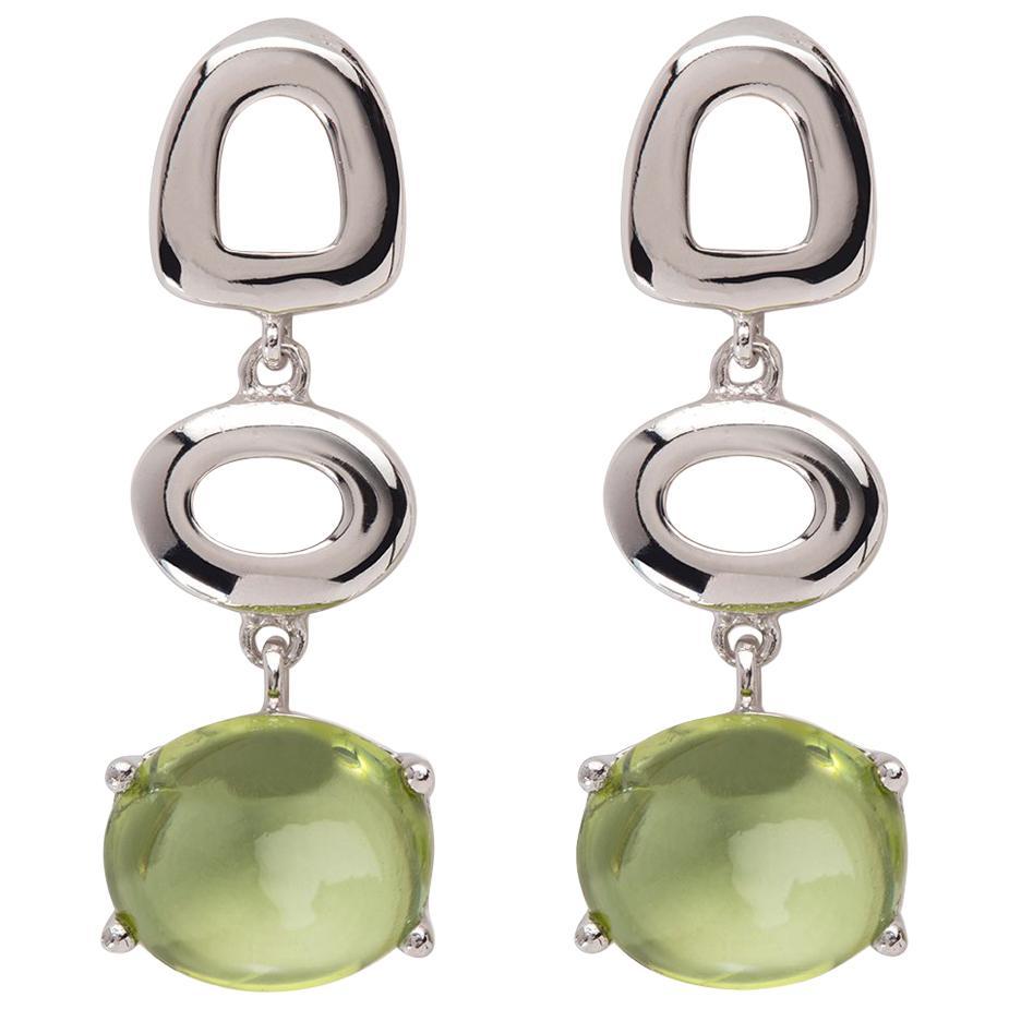 Maviada's St Tropez Green Peridot 18 Karat White Gold Drop Long Earrings