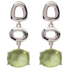 Maviada's St Tropez Green Peridot 18 Karat White Gold Drop Long Earrings
