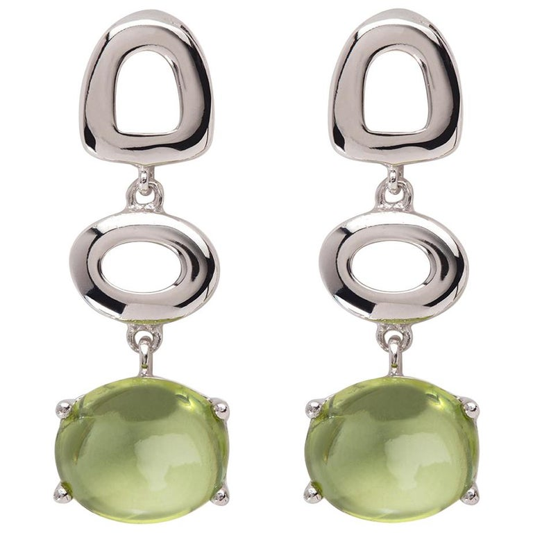 Maviada's St Tropez Green Peridot 18 Karat White Gold Drop Long Earrings For Sale