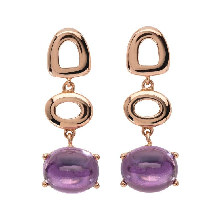 Maviada's St Tropez London Purple Amethyst 18 Karat Rose Gold Drop Long Earrings For Sale