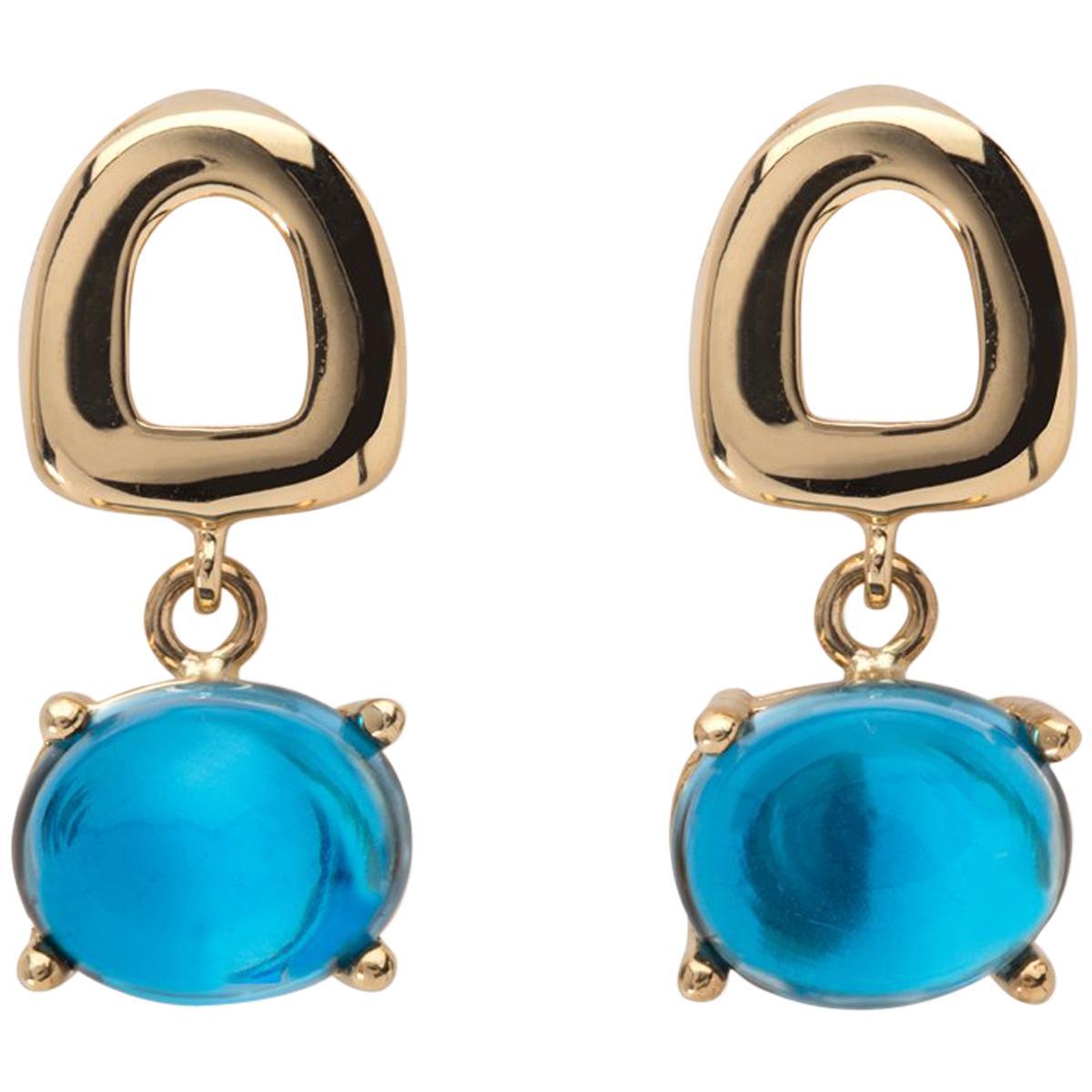 Maviada's St Tropez Mini London Blue Topaz 18 Karat Gold Drop Dangle Earrings