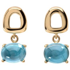 Maviada's St Tropez Mini Swiss Blue Topaz 18 Karat Gold Drop Dangle Earrings