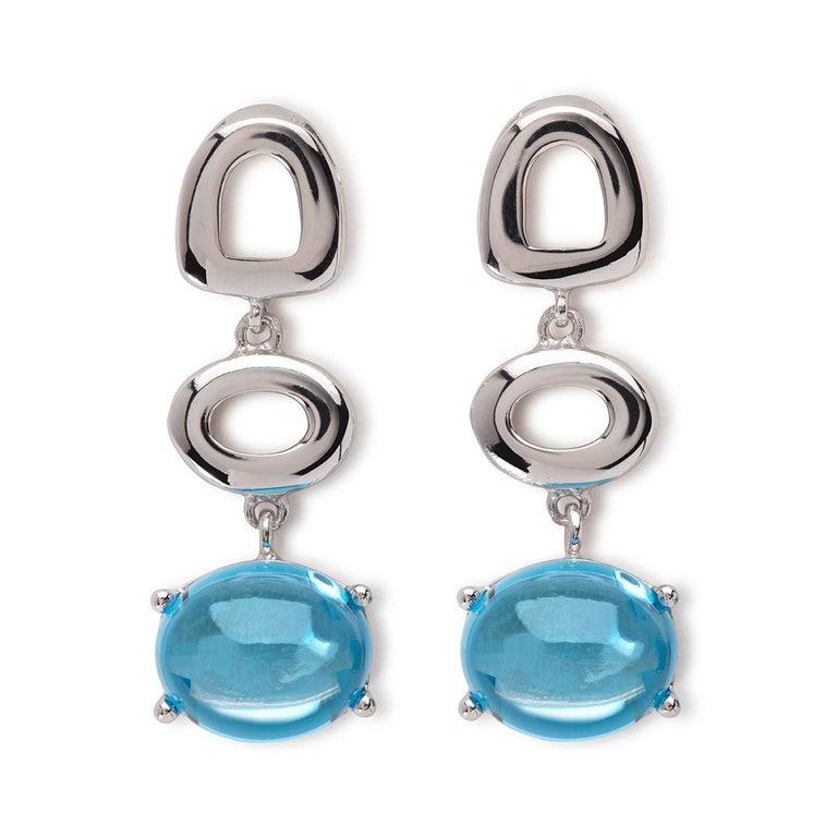 Maviada's St Tropez Sky Blue Topaz 18 Karat White Gold Drop Long Earrings For Sale 9