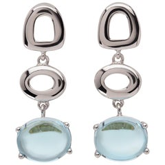 Maviada's St Tropez Sky Blue Topaz 18 Karat White Gold Drop Long Earrings