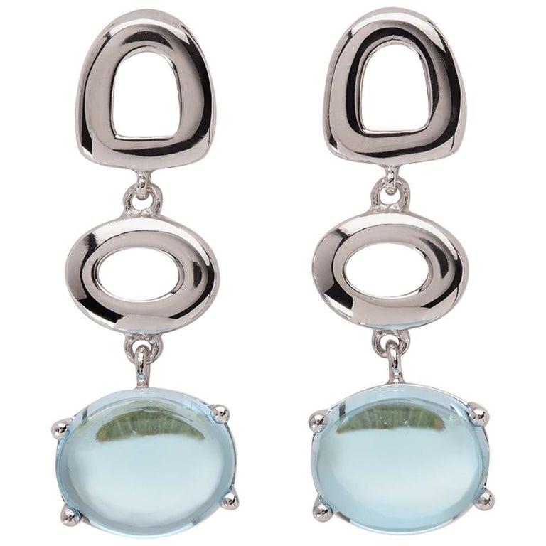 Maviada's St Tropez Sky Blue Topaz 18 Karat White Gold Drop Long Earrings For Sale