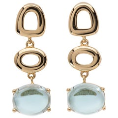 Maviada's St Tropez Sky Blue Topaz 18 Karat Yellow Gold Drop Long Earrings