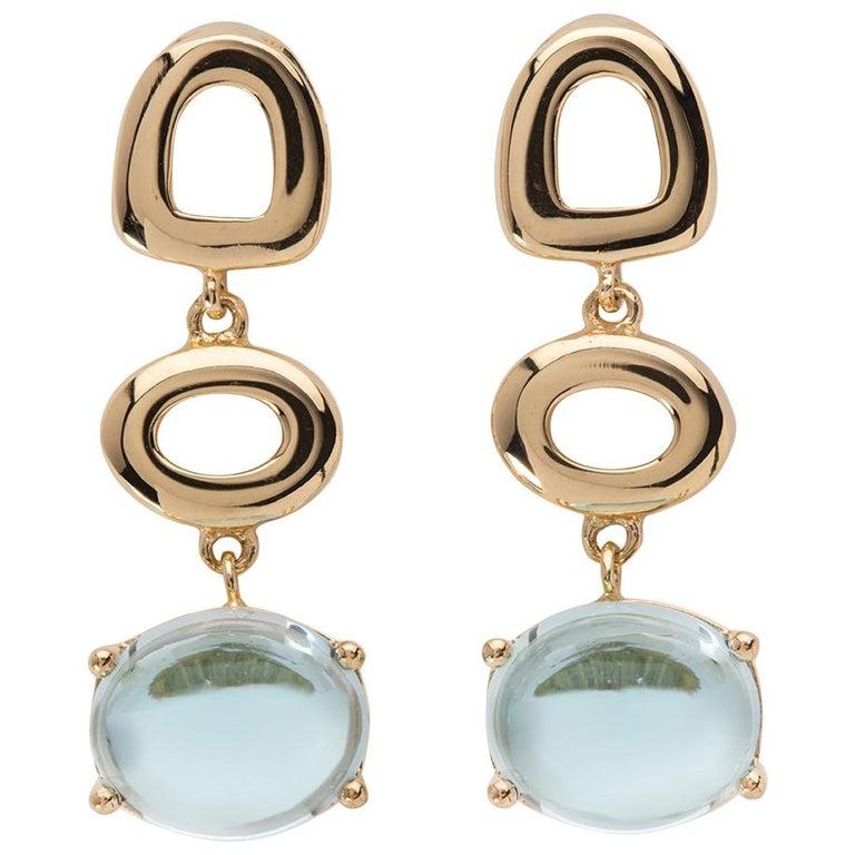 Maviada's St Tropez Sky Blue Topaz 18 Karat Yellow Gold Drop Long Earrings For Sale