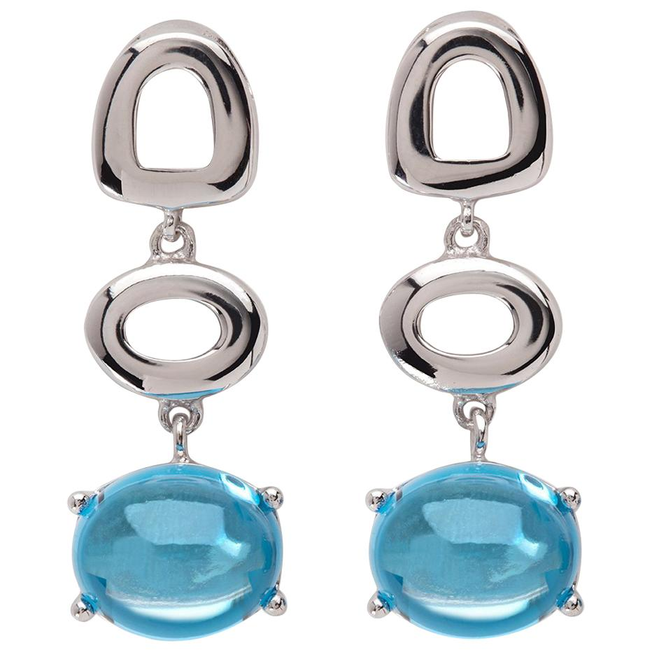 Maviada's St Tropez Swiss Blue Topaz 18 Karat White Gold Drop Long Earrings