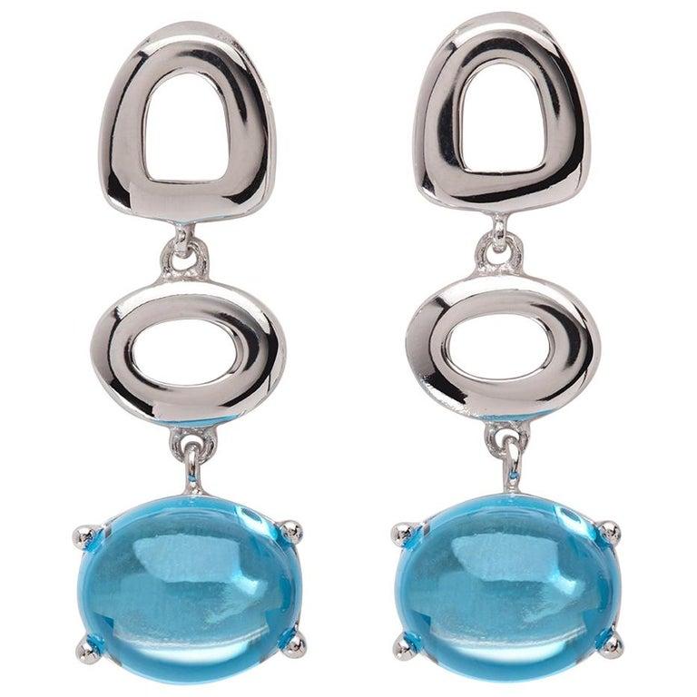 Maviada's St Tropez Swiss Blue Topaz 18 Karat White Gold Drop Long Earrings For Sale