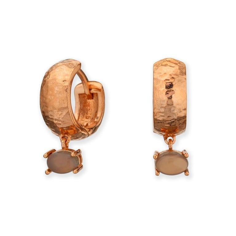 Maviada's White Rhodium Vermeil Bastia Mini Champagne Modern Hoop Earring For Sale 15