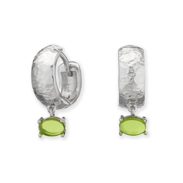 Maviada's White Rhodium Vermeil Bastia Mini Champagne Modern Hoop Earring For Sale 1