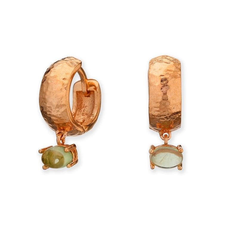 Maviada's White Rhodium Vermeil Bastia Mini Green Amethyst Modern Hoop Earring For Sale 11
