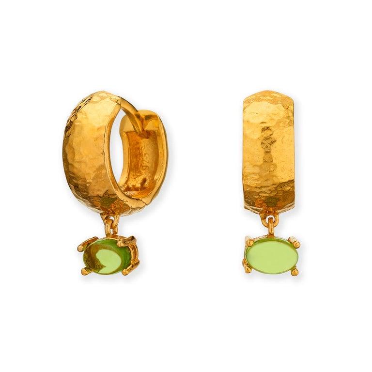 Maviada's White Rhodium Vermeil Bastia Mini Green Amethyst Modern Hoop Earring For Sale 3