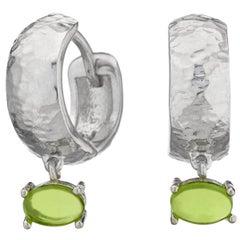 Maviada's White Rhodium Vermeil Bastia Mini Green Amethyst Modern Hoop Earring