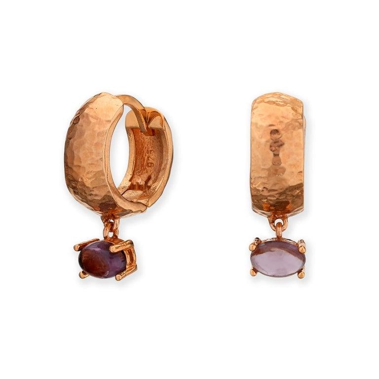 Maviada's White Rhodium Vermeil Bastia Mini Purple Amethyst Modern Hoop Earring For Sale 13