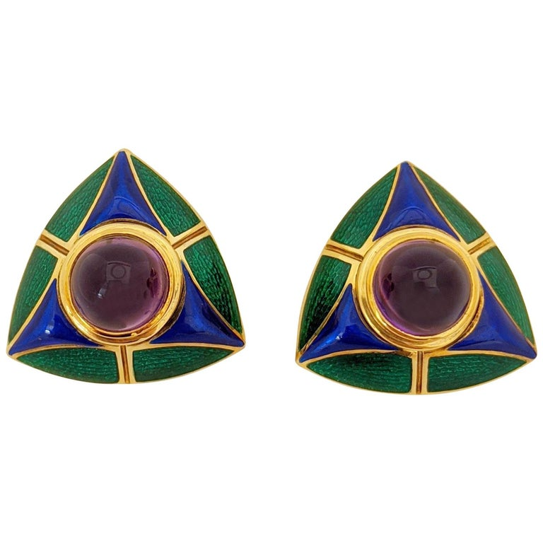 Mavito 18 Karat Yellow Gold Earrings with Amethyst Center, Blue and Green Enamel For Sale