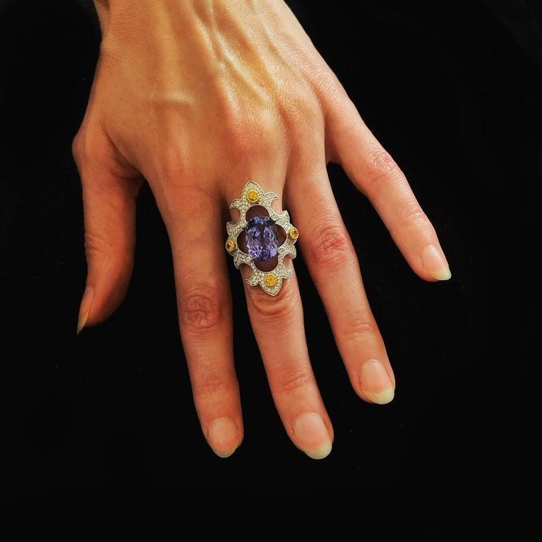 Oval Cut Mawenzi Princess Ring - 18kt White Gold, Tanzanite, Yellow Sapphires, & Diamonds For Sale