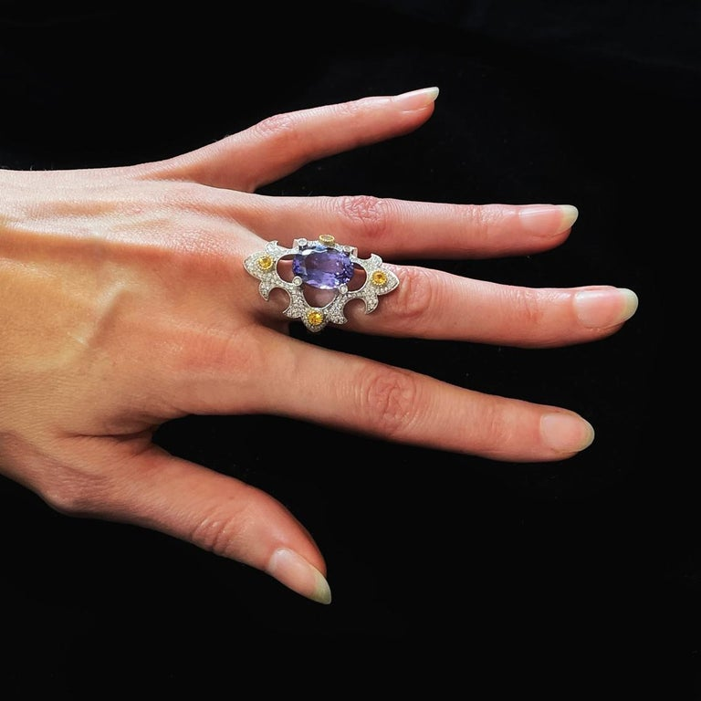 Mawenzi Princess Ring - 18kt White Gold, Tanzanite, Yellow Sapphires, & Diamonds In New Condition For Sale In Melbourne, Vic