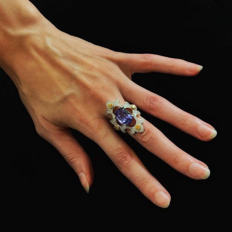 Mawenzi Princess Ring - 18kt White Gold, Tanzanite, Yellow Sapphires, & Diamonds For Sale 2