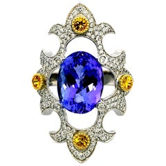 Mawenzi Princess Ring - 18kt White Gold, Tanzanite, Yellow Sapphires, & Diamonds