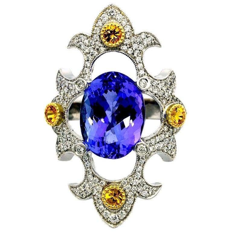 Mawenzi Princess Ring - 18kt White Gold, Tanzanite, Yellow Sapphires, & Diamonds For Sale