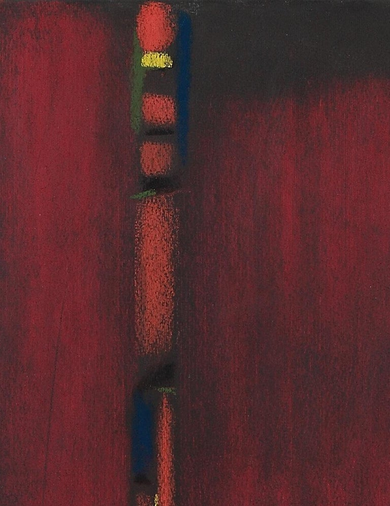 Pastel on vellum paper, 1964. Signed and dated lower right: Ackermann Rom 64. Framed. 13.78 x 9.84 in ( 35 x 25 cm )  Max Ackermann ( 1887-1975) was a German painter and graphic artist of abstract works.