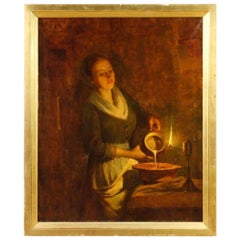 Max Alandt Signed Oil on Canvas Dutch Interior Scene Painting, 1920