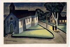 Night Scene, American Modern Silkscreen by Max Arthur Cohn 1944