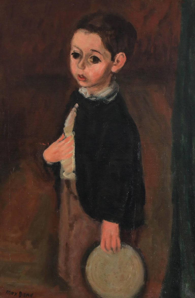 Oil painting of a young boy by figurative artist Max Band  - Modern Painting by Max Band
