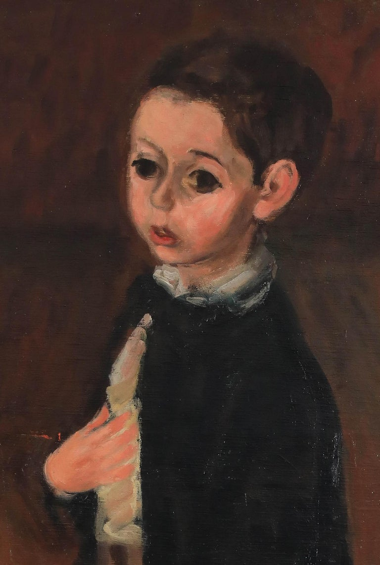 Oil painting of a young boy by figurative artist Max Band  - Brown Figurative Painting by Max Band