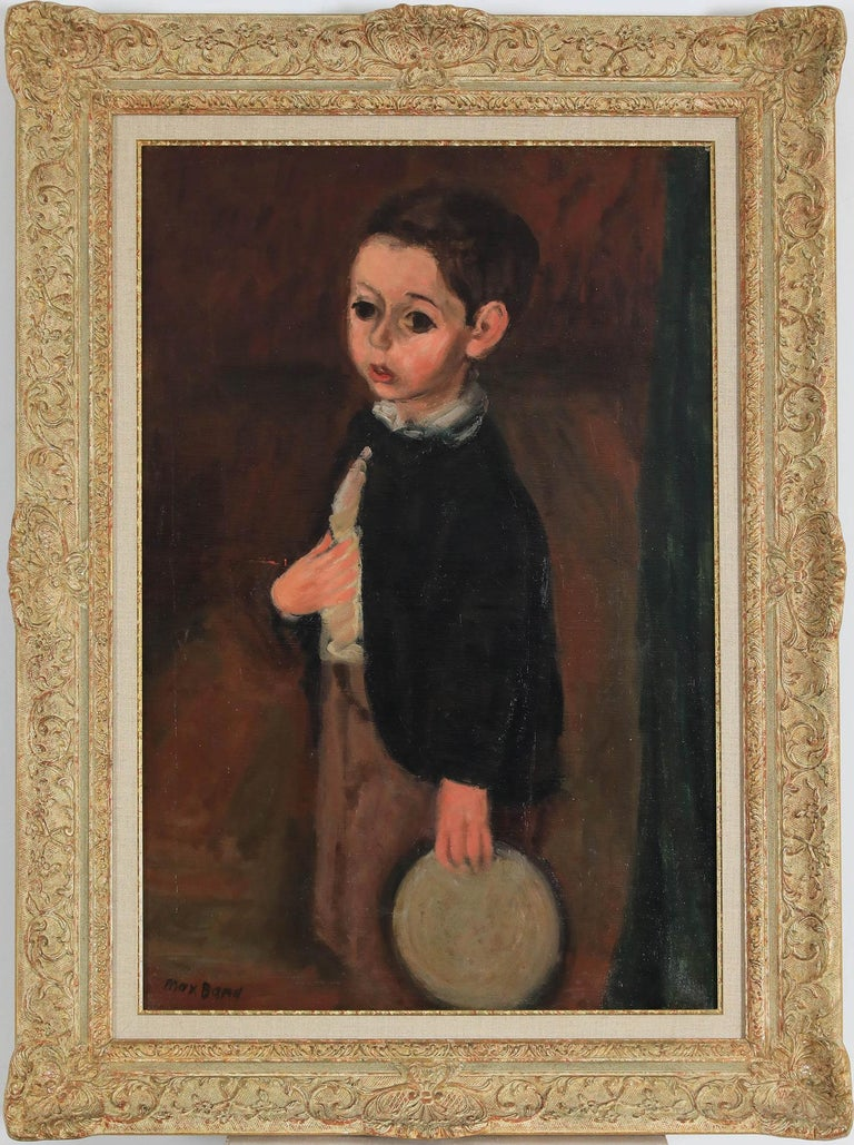 Oil painting of a young boy by figurative artist Max Band  - Painting by Max Band