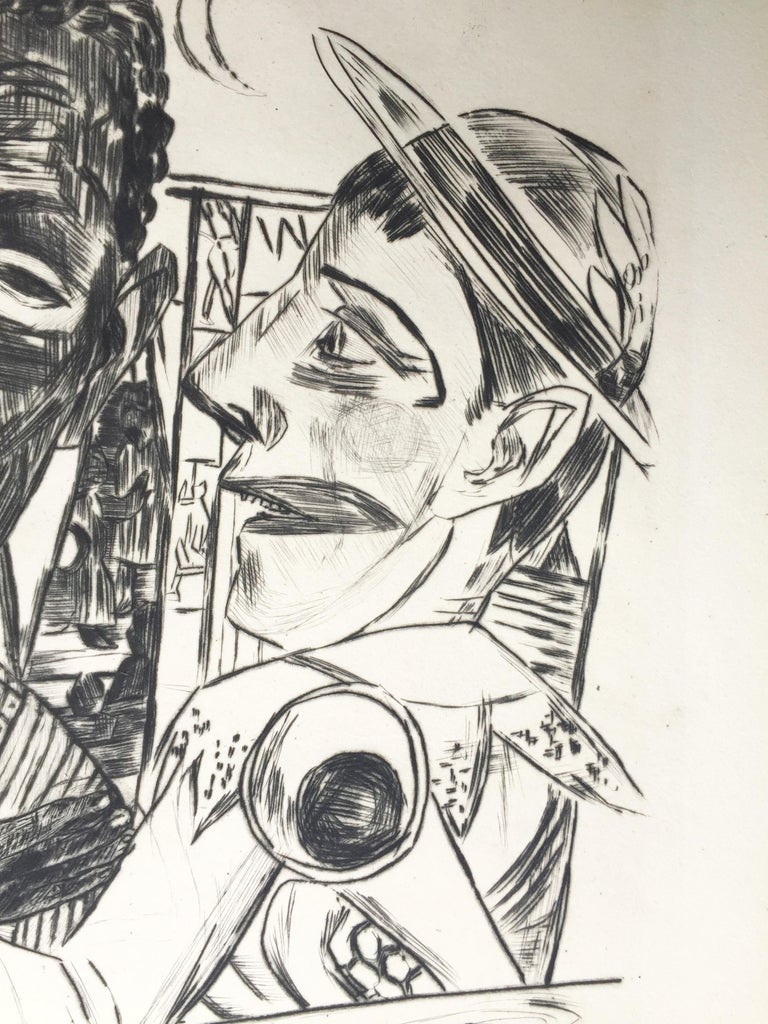 Der Neger (The Negro) - Gray Figurative Print by Max Beckmann