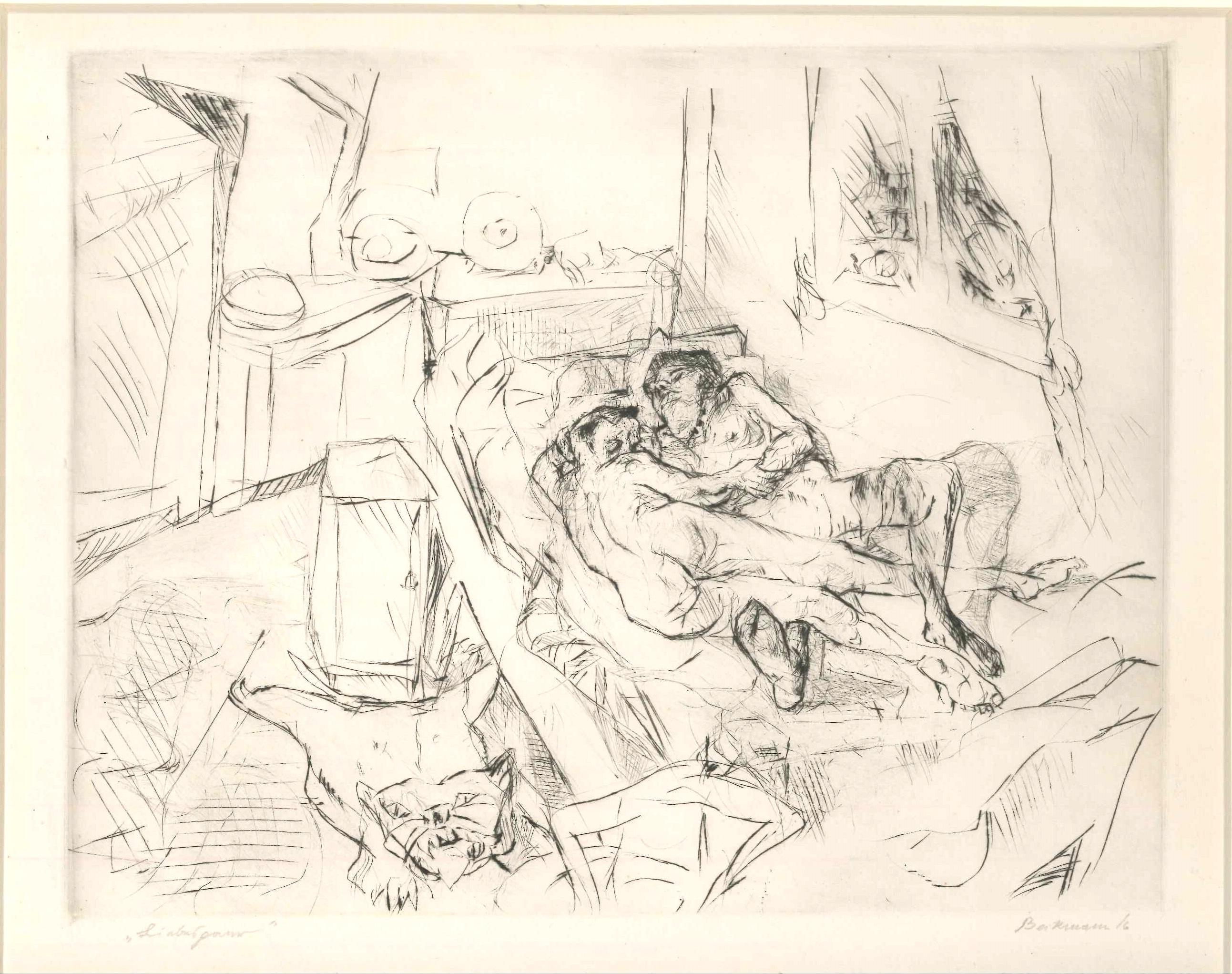 Liebespaar I - Original Etching and Drypoint by Max Beckmann - 1916