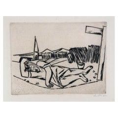 Max Beckmann German Expressionist Etching 1922, Maiden Sleeping in the Cornfield