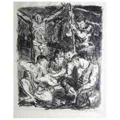 Max Beckmann German Expressionist Lithograph, 1911, Soldier's Gambling